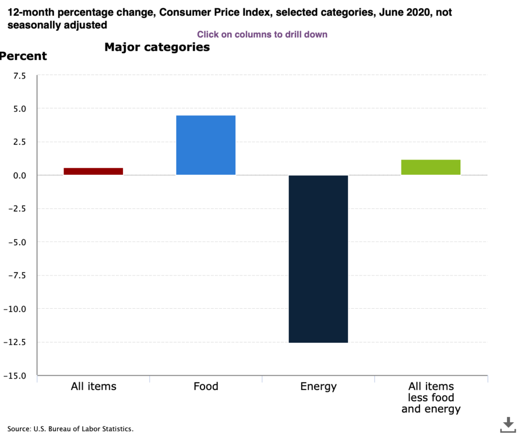 This chart shows that in June 2020, the Consumer Price Index (the most common measure of inflation) increased just 0.6% over last year. The dramatic decrease in Energy Prices of 12.5% offset the increases in Food and other prices. Data from the U.S. Bureau of Labor Statistics.